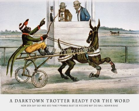 Fine art Horseracing Print of the 1800's Racing and Trotting of A Darktown Trotter ready for the Word